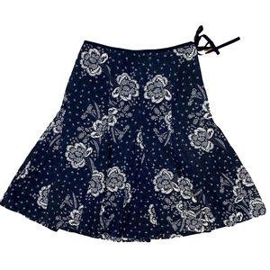 J Crew black white floral print fluted Skirt